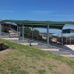 Barrel Vaulted Shade Structure over Steps Creating School Amphitheatre