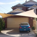 Driveway 4 Post Beige Twisted Shade Sail