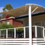 Waterproof Curved Two Post Cantilever Deck Shade Structure