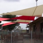 Alternating Colour Red Beige Outdoor Cafe Shade Sails