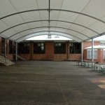 Large barrel vault Shade Structure over school assembly area