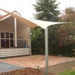 Four Post Backyard Shade Sail with High Post
