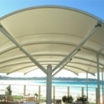 Curved White Single Post Cafe Shade Structure