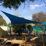 Kindergarten 4 Post Blue Playground Shade Sail