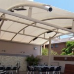 Middle Post Curved Cafe Shade Structure
