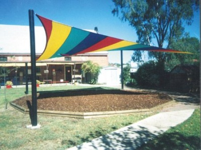 Rainbow Coloured 4 Post Playground Shade Sail