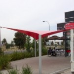 Red PVC Shade Sail in Epping